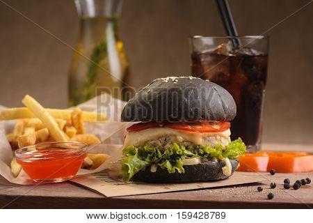 Trendy Burger With Beef In Black Bun