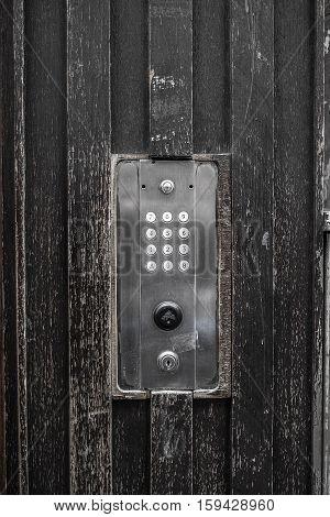 Vintage electronic door with keypad  to lock and unlock the door