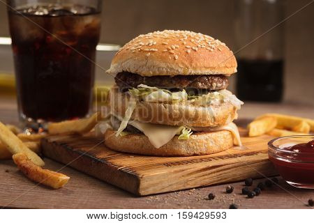 Classic Ham Double Burger With Ingredients,