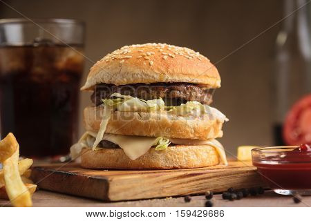 Classic Beef Double Burger With Ingredients