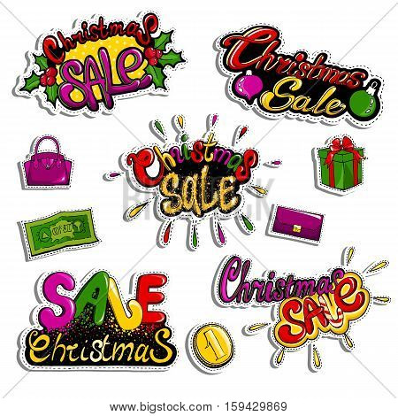 Christmas Sale patch badges with purse, handbag, gift box and other shopping icons. Set of fashion stickers, pins, patches in cartoon 80s-90s comic style for banner, shop, website. Vector illustration