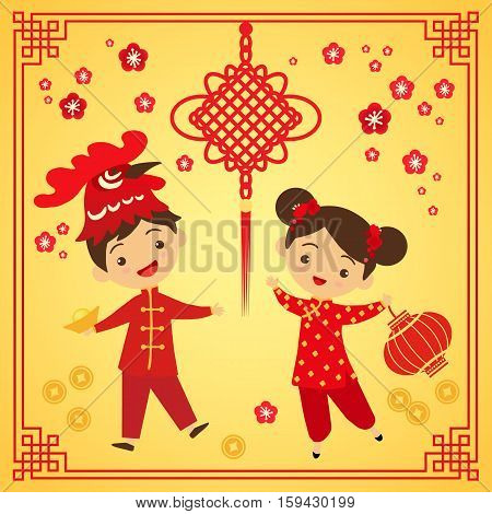 Chinese New Year greeting card. Boy and girl in traditional Chinese clothes participate in the carnival. Cartoon boy in mask rooster vector illustration
