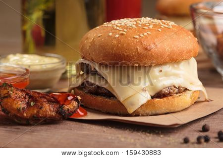 Classic Double Cheeseburger With Ingredients