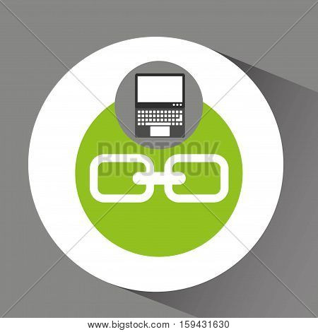 laptop technology link web icon vector illustration eps 10