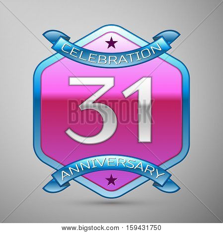 Thirty one years anniversary celebration silver logo with blue ribbon and purple hexagonal ornament on grey background.