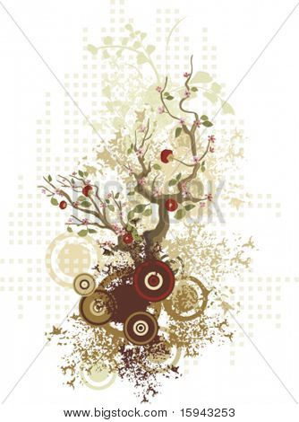 Abstract floral design with a tree and grunge details, vector illustration series.