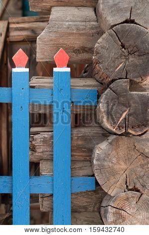 Old cut logs. Texture wood. Russian log hut