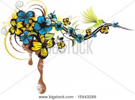 Diseño floral abstracto con flores y detalles de grunge, vector illustration serie.