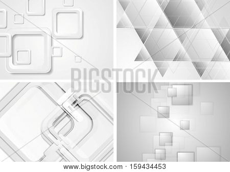 Set of grey tech geometric abstract backgrounds