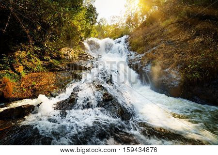 The Datanla Waterfall With Crystal Clear Water. Forest Landscape