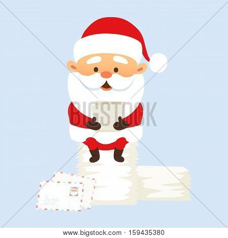 Santa Claus Christmas illustration. Santa Claus reads the letter and sitting on a pile of letters. Christmas character design. Funny Father Frost