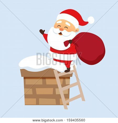 Santa Claus Christmas illustration. Santa Claus climbs on the roof chimney on the stairs and hold bag . Christmas character design. Father Frost