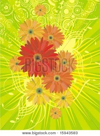 Floral background with lightrays and grunge details, vector illustration series.