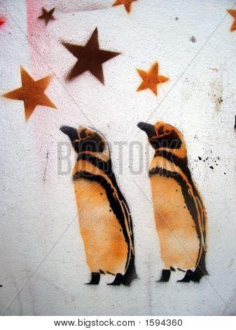Grafitti Stencil Penguins And Stars
