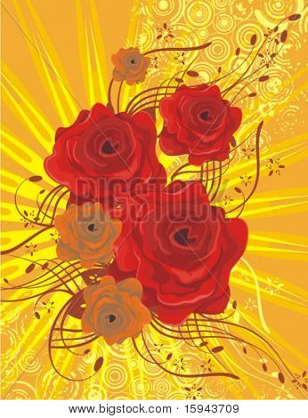 Floral background with red roses, lightrays and grunge details, vector illustration series.