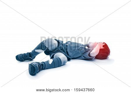 Top View Of Youth Asian Soccer Player With Painful In Forehead. On White