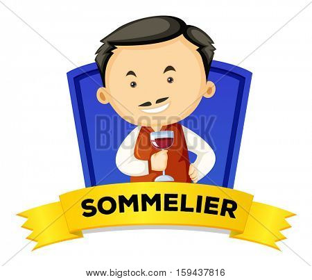 Occupation wordcard with sommelier illustration
