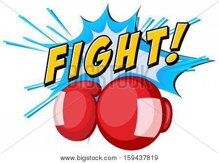 Font design with boxing gloves illustration
