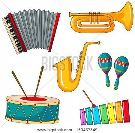 Different types of musical instrument illustration
