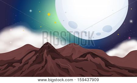 Nature scene with mountains at night illustration