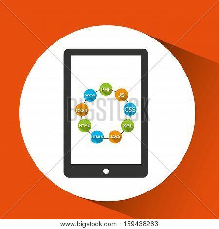 programming languages smartphone source code vector illustration eps 10