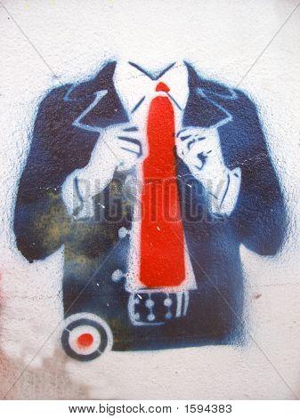 Grafitti Stencil Suit Red Tie
