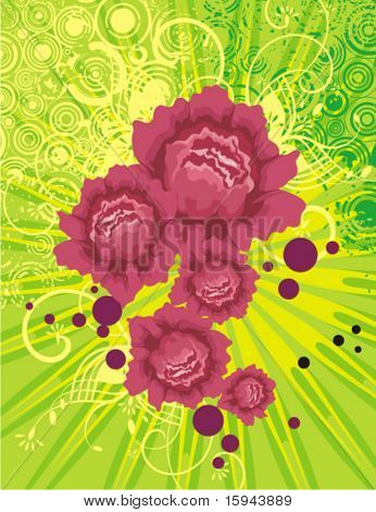 Floral background with light rays and grunge details, vector illustration series.
