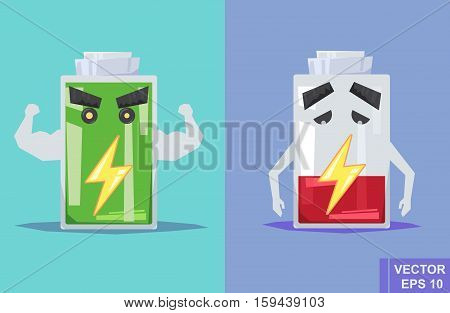 Low Battery And Full. Vector Flat Illustration. Cartoon Image