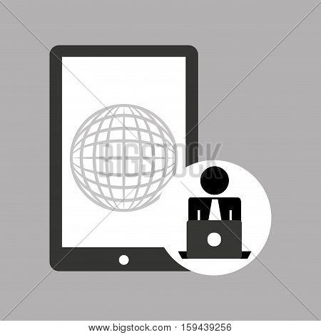 silhouette programmer working laptop mobile globe vector illustration eps 10
