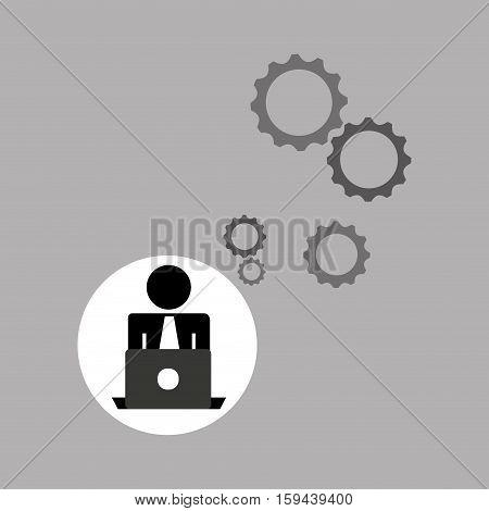 silhouette programmer working laptop gears vector illustration eps 10
