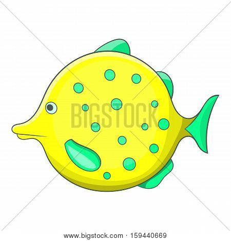 Yellow dotted fish icon. Cartoon illustration of yellow dotted fish vector icon for web
