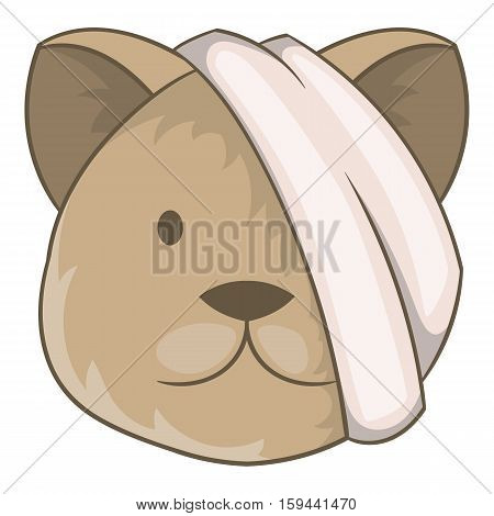 Sick cat with bandage on a head icon. Cartoon illustration of sick cat with bandage on a head vector icon for web