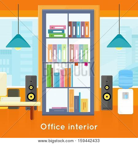 Office interior background. Modern office interior with desktop, bookcase with folders, audio speakers, water cooler in flat. Interior office room. Modern office room against the window. Office space