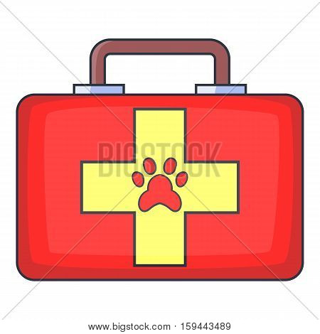 Red pet first aid kit icon. Cartoon illustration of red pet first aid kit vector icon for web