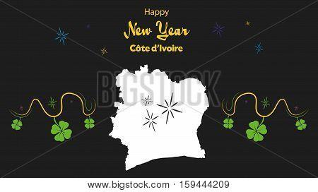 Happy New Year Illustration Theme With Map Of Ivory Coast