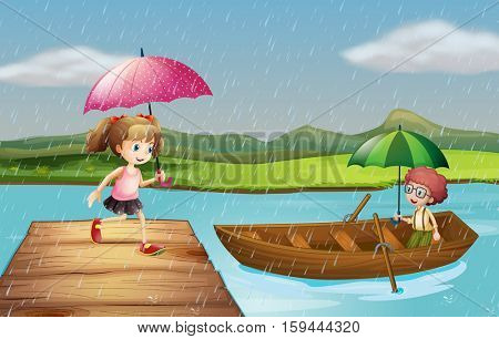 Girl and boy in the rain at the park illustration