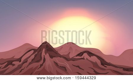 Scene with mountains at sunset illustration
