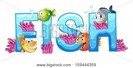 Font design for word fish illustration