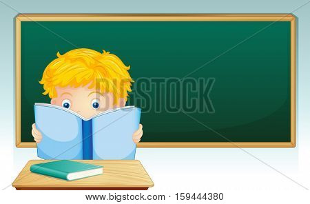 Boy reading book in classroom illustration