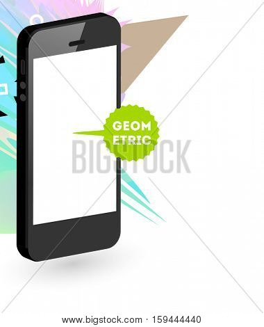 Mobile Phone Icon with Trendy Geometric Background for Technologies Concepts and Designs - Vector Illustration