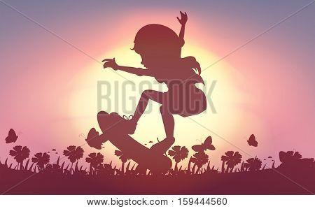 Silhouette girl skateboarding in garden illustration