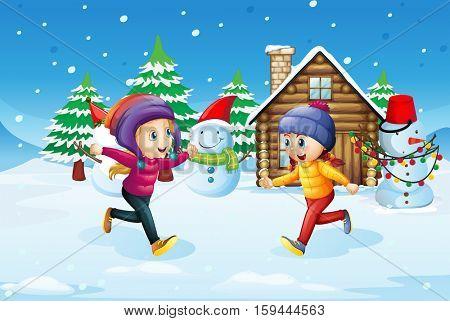 Girls playing in snow field illustration