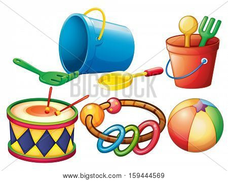 Set of colorful toys illustration