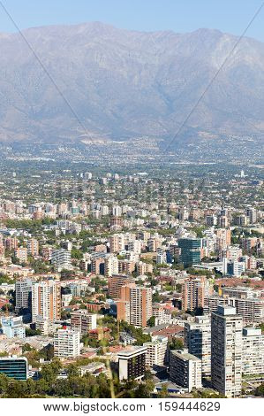 Cityscape Of Santiago From St. Cristobal Hill. Chile, South America