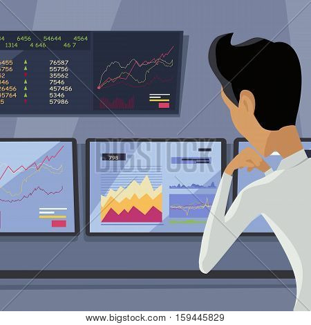 Modern online trading on stock exchange concept. Flat style design Monitoring of value indexes. Online trading technology. Brokerage trading on the web vector. Flat style design. Businessman at work.