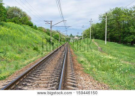 Ukranian railroad landscape at spring season .