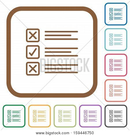 Questionnaire simple icons in color rounded square frames on white background