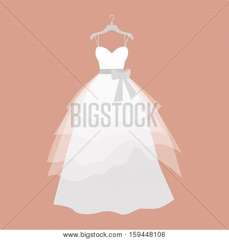 Wedding dress vector. Flat design. Elegant white dress with veiling and bow for bride hanging on hanger. Preparing to marriage ceremony. For wedding clothes shop, holiday planning companies ad