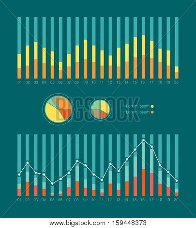 Set of elements for infographics. Graphs and Charts show weather changing. Weather forecast concept. Strength of wind, tornado, hurricane. For website and mobile app designs. Vector illustration
