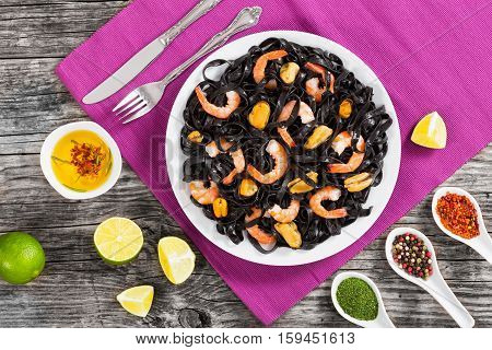 Delicious Cuttlefish Ink Black Noodles With Prawns And Mussels